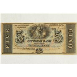 1800'S $5 CITIZENS BANK OF LOUISIANA OBSOLETE BANK