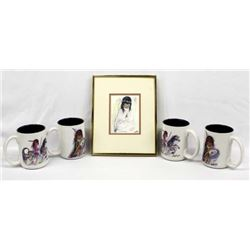 Framed Ted DeGrazia Print and 4 DeGrazia Cups