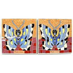 Pair of Large Framed Mosaic Tile Butterfly Art