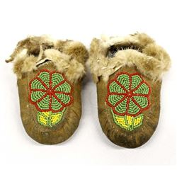 Plains Indian Beaded Child's Moccasins
