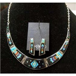 Sterling Inlay Necklace & Earrings
