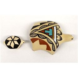 2 Native American Pottery Turtles