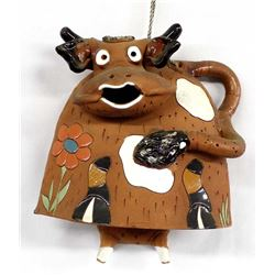 Whimsical Glazed Pottery Cow Bell