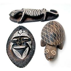 Carved Stone Turtle, Mask & Lizard