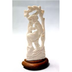 1973 Albanian Carved Ivory Girl Figurine