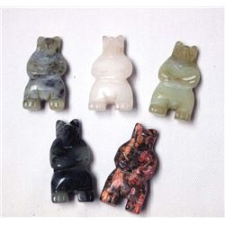 5 Handcarved Stone Bear Beads