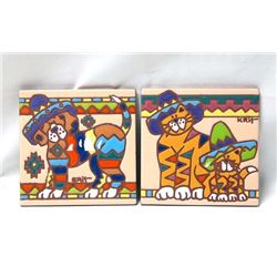 2 Earthtones Tiles ''Senior Hound'' and ''Cat''