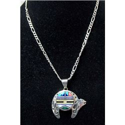 Zuni Sterling Inlay Necklace