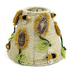 Vintage Beaded Bumble Bee & Flower Lamp Shade