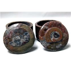 2 Ammonite Fossil Lidded Trinket Boxes
