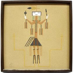 Framed Navajo Sand Painting by Emma Yazzie