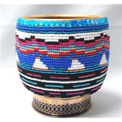 Kathy Kills Thunder Beaded Bowl