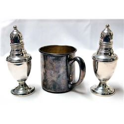 Sterling Silver Cup and Salt and Pepper Shakers