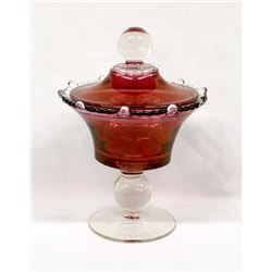 Antique Estate Cranberry Pedestal Bowl