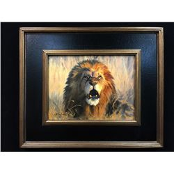 Larry Zach Original Painting – Angry Lion