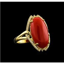 8.41 ctw Coral and Diamond Ring - 14KT Yellow Gold