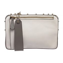 MCM White and Gray Leather Two Tone Cubism Medium Clutch Handbag