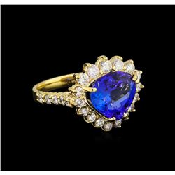 5.39 ctw Tanzanite and Diamond Ring - 14KT Yellow Gold