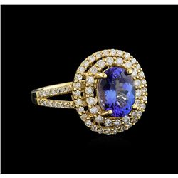 14KT Yellow Gold 2.37 ctw Tanzanite and Diamond Ring