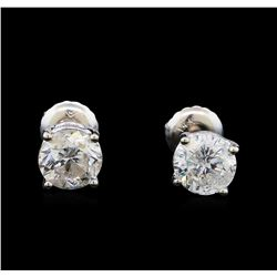 1.54 ctw Diamond Stud Earrings - 14KT White Gold