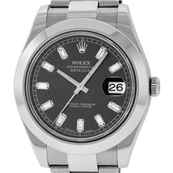 Rolex Mens SS 41MM Dark Rhodium Baguette Diamond Datejust 2 Oyster Band Wristwat