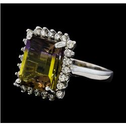 5.54 ctw Ametrine Quartz and Diamond Ring - 14KT White Gold