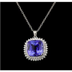 GIA Cert 35.28 ctw Tanzanite and Diamond Pendant With Chain - 14KT White Gold