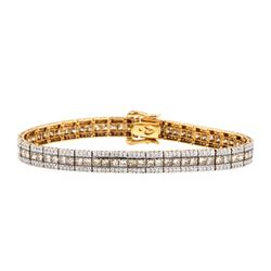 8.22 ctw Fancy Light Brown and White Diamond Bracelet - 14KT Rose Gold