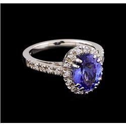 2.41 ctw Tanzanite and Diamond Ring - 14KT White Gold