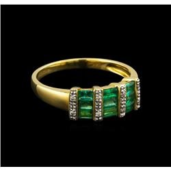0.84 ctw Emerald and Diamond Ring - 14KT Yellow Gold