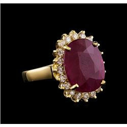 GIA Cert 6.96 ctw Ruby and Diamond Ring - 14KT Yellow Gold