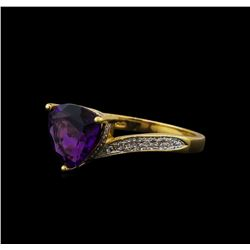 2.06 ctw Amethyst and Diamond Ring - 14KT Yellow Gold