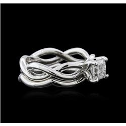 0.90 ctw Diamond Wedding Ring Set - 18KT White Gold