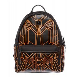 MCM Black Orange Visetos Bionic Backpack