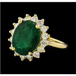 5.43 ctw Emerald and Diamond Ring - 14KT Yellow Gold