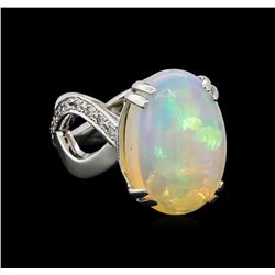 10.00 ctw Opal and Diamond Ring - 14KT White Gold