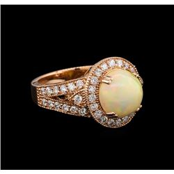 3.20 ctw Opal and Diamond Ring - 14KT Rose Gold