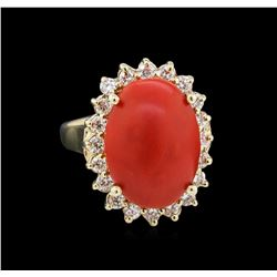 5.35 ctw Coral and Diamond Ring - 14KT Yellow Gold