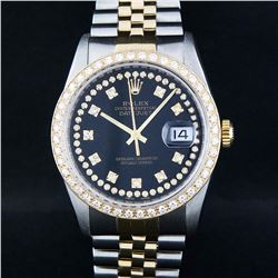 Rolex Two-Tone Black String Diamond VVS  Men's Watch