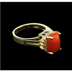 3.51 ctw Red Coral and Diamond Ring - 14KT Yellow Gold