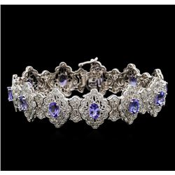 14KT White Gold 7.92 ctw Tanzanite and Diamond Bracelet