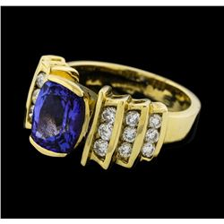 2.56 ctw Tanzanite and Diamond Ring - 14KT Yellow Gold