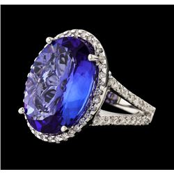 10.86 ctw Tanzanite and Diamond Ring - 14KT White Gold
