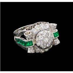 1.64 ctw Diamond and Emerald Ring - Platinum