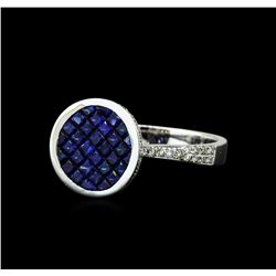 1.42 ctw Blue Sapphire and Diamond Ring - 14KT White Gold