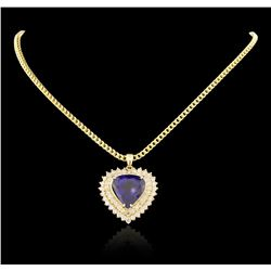 14KT Yellow Gold 17.40 ctw GIA Cert Tanzanite and Diamond Pendant With Chain