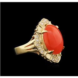 4.97 ctw Coral and Diamond Ring - 14KT Yellow Gold