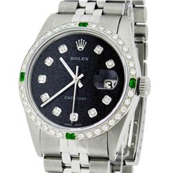 Rolex Mens SS Black Diamond And Emerald Datejust Wristwatch