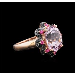 14KT Rose Gold 5.18 ctw Kunzite, Pink Sapphire and Black Diamond Ring