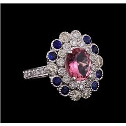 14KT White Gold 2.24 ctw Tourmaline, Sapphire and Diamond Ring